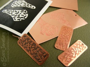 The various stages of the copper etching process.