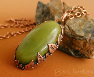 Leaf-set pendant featuring my own faux jade polymer clay cabochon.