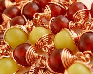 These Carnelian and Butter Jade beads look like berries.