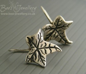 Silver ivy leaf earrings with integral Sterling silver earwires.