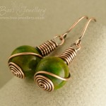Mashan Jade and copper rosebud knot wrapped earrings.