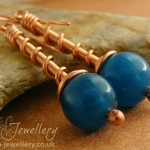 Malay Jade coil on coil earrings with copper and bronze coils.
