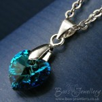 Swarovski Elements crystal heart in Bermuda colour on silver plated chain.