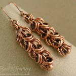 Double shaggy loops antiqued copper earrings. I graduated the top from smaller rings and popped a bead at the bottom to make them a nice shape.