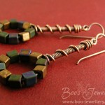 Coil on coil antiqued copper earrings with a loop strung with metallic coated seed bead cubes.