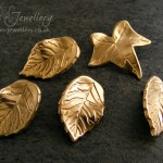 Two styles of leaf brooch pins, Individually hand sculpted, with an embedded pin which fits with a butterfly clutch back.
