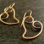 A new metal for my plain curly heart earrings, here made in polished bronze.