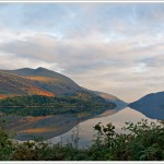 It had rained hard and been stormy earlier in the day and it suddenly stopped and lifted and odd shards of sunlight glinted through gaps in the cloud. Thirlmere in the English Lake District.