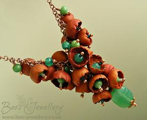 Polymer clay bell flower cluster necklace