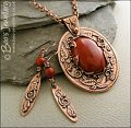 Red jasper cabochon and copper leaf pendant set