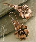 Wild rose hand sculpted copper earrings