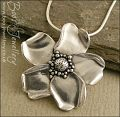 Pure solid silver hand sculpted wild rose pendant