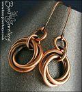 Mobius flower antiqued copper earrings
