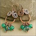 Copper spiral chandelier earrings with turquoise glass dangles