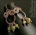 Copper spiral chandelier earrings with Picasso glass dangles