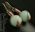 Aquamarine coloured Malay Jade rosebud knot earrings