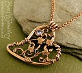 Filigree heart pendant with ivy leaves, berries and a CZ gemstone