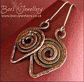 Dark copper hammered texture leaf spiral earrings