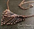 Copper raindrops adjustable necklace - drips of molten copper