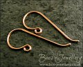Hand crafted 'large classic' solid copper earwires, 5 pairs