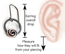Earrings are always measured overall from the top of the earwire and you can tell how they will fit by measuring down from your piercing.