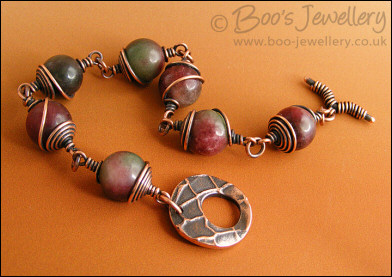 Tourmaline and copper spiral wrapped toggle bracelet