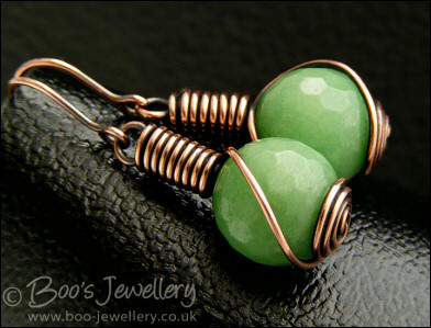 Faceted jade rosebud knot wrap earrings - 2 colours to choose from