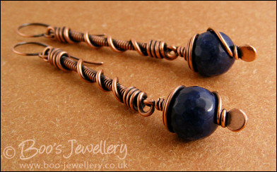Deep blue jade long drop spiralled earrings