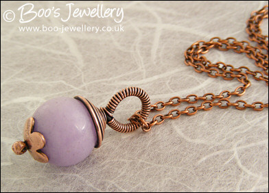 Lilac jade flower capped and wire wrapped pendant