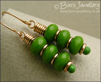 Spring green faceted glass rondelle and bronze earrings
