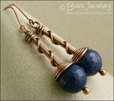 Deep blue jade coil on coil copper earrings