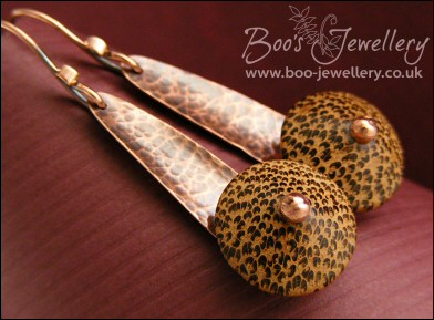 Hammered copper and Palmwood earrings