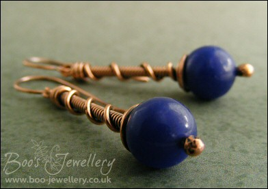 Dark blue jade and copper coil on coil earrings - made to order