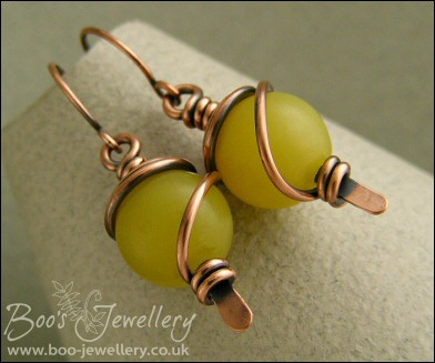 Butter Jade spiral wrapped hammered paddle earrings