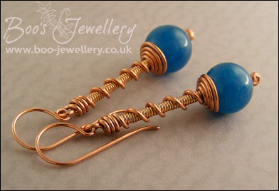 Copper and bronze coil on coil earrings with Malay Jade