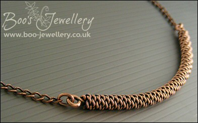 Antiqued copper twisted rope and chain necklace