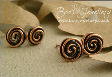 Rosebud knot antiqued copper stud or post earrings