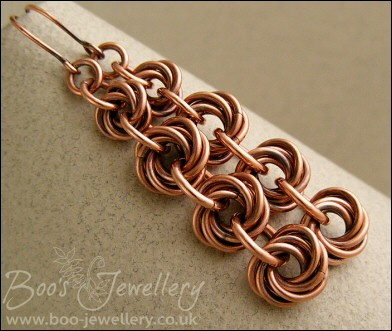 Mobius flower long drop chain maille earrings