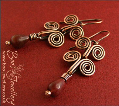 Egyptian coil antiqued copper and Tourmaline earrings
