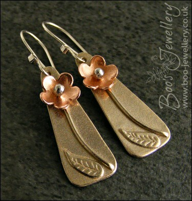 Mixed metal flower earrings in copper, bronze and Sterling silver