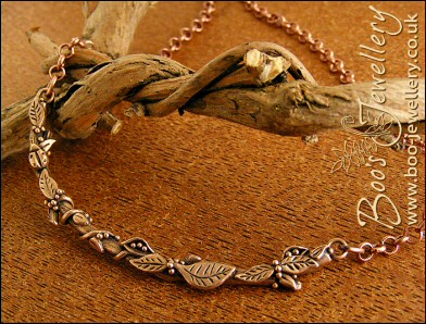 Twig necklace hand sculpted with leaves, seed pods and berries