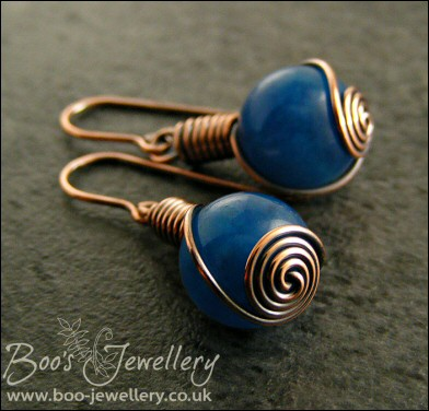 Royal blue Malay Jade and antiqued copper rosebud knot earrings