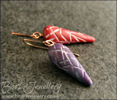 Carved polymer clay torpedo pendant and earring set