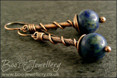 Chrysocolla and antiqued copper coil on coil earrings