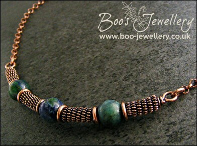Antiqued copper spiralled rope and Chrysocolla necklace