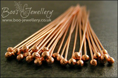 Ball ended solid copper hand crafted head pins, pack of 20