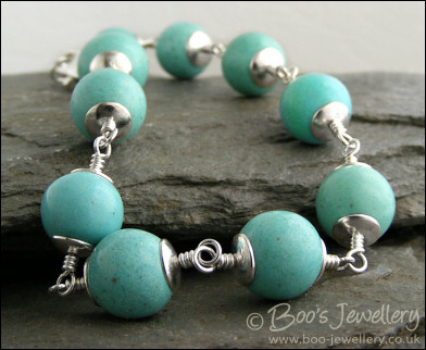 Turquoise Magnesite and silver plated bracelet - made to order