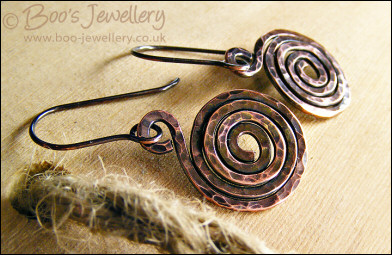 Hammered and oxidised copper spiral earrings