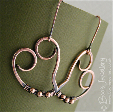 Copper heart earrings, wire wrapped with tiny silver beads
