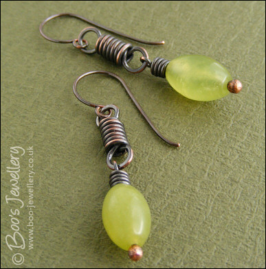 Oxidised Coiled Link Earrings With Serpentine Jade Hand